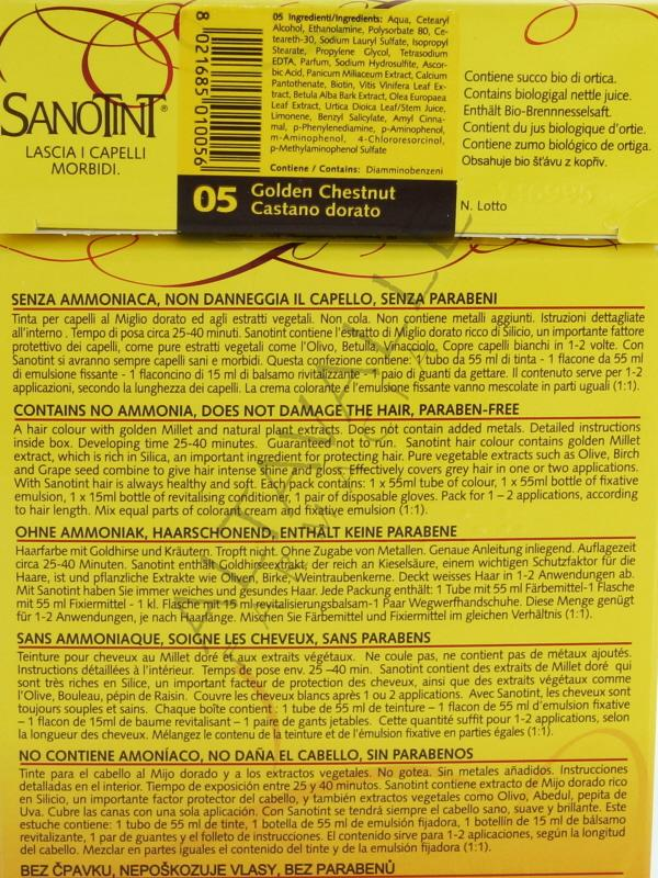 Sanotint tinta 05 castano dorato a 12 50 su altavalle for Tinta per capelli sanotint