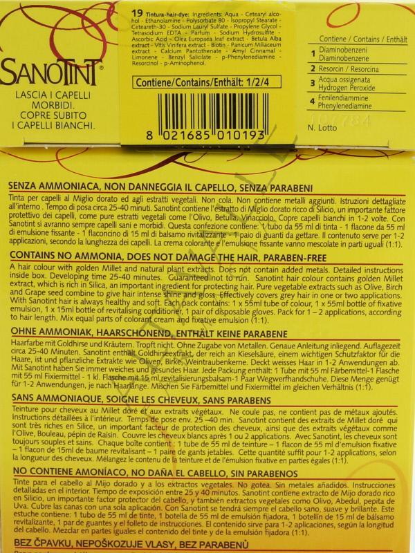 Sanotint tinta 19 biondo chiarissimo a 12 50 su for Tinta per capelli sanotint